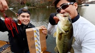 "Bass Fishing Challenge versus a YUNG Sub!! -- ""Shad Chasers"" vs. ""Fall Prep"" (MTB's Catch Co. Boxes)"